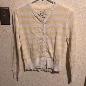 Girls sz 10/12 Cherokee yellow & white sweater